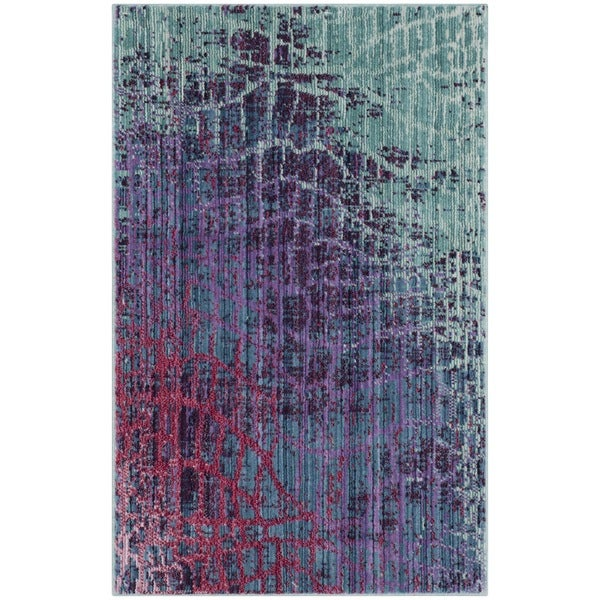 Safavieh Valencia Abstract Watercolor Blue/ Fuchsia Rug