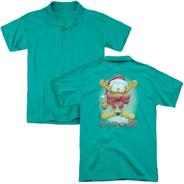 Garfield/Unwrap The Joy! (Back Print) Mens Regular Fit Polo in Kelly Green