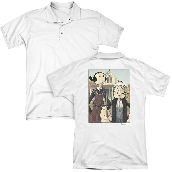 Popeye/Popeye Gothic (Back Print) Mens Regular Fit Polo in White