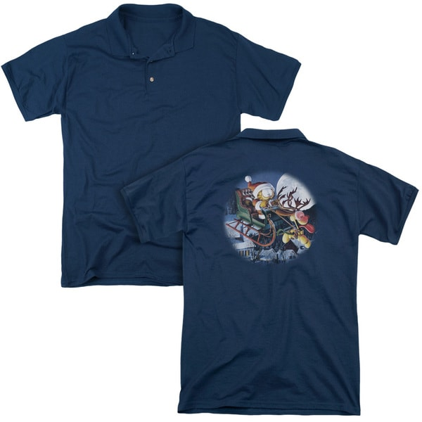 Garfield/Moonlight Ride (Back Print) Mens Regular Fit Polo in Navy