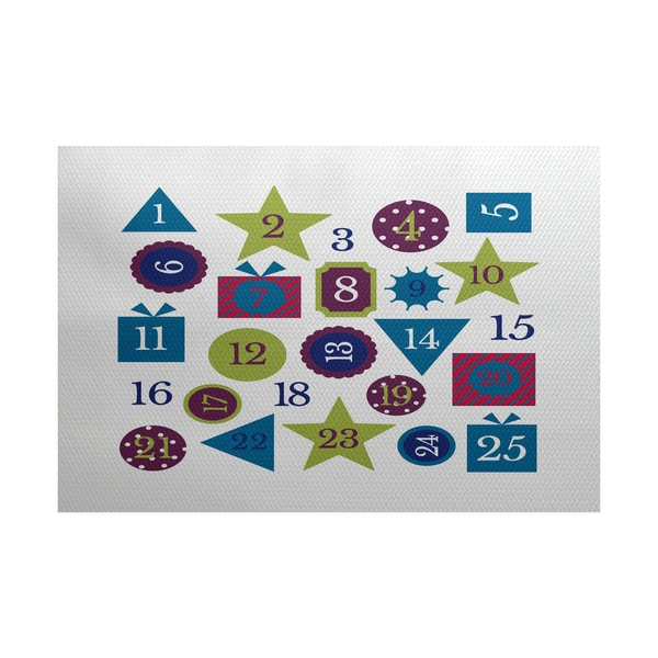 5 x 7-Feet Advent Calendar Geometric Print Indoor/Outdoor Rug