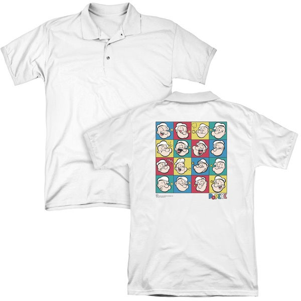 Popeye/Color Block (Back Print) Mens Regular Fit Polo in White