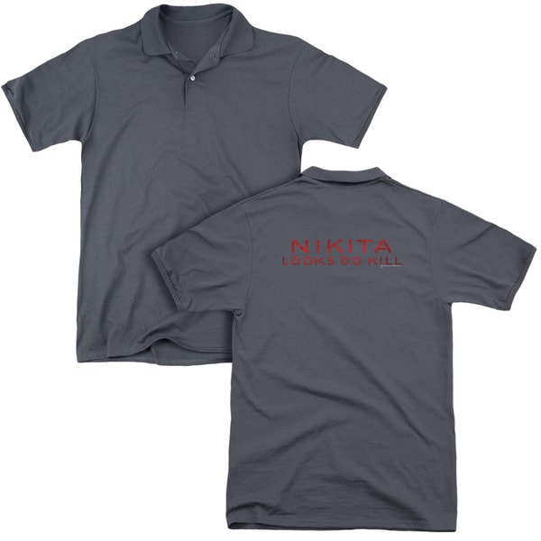 Nikita/Logo (Back Print) Mens Regular Fit Polo in Charcoal