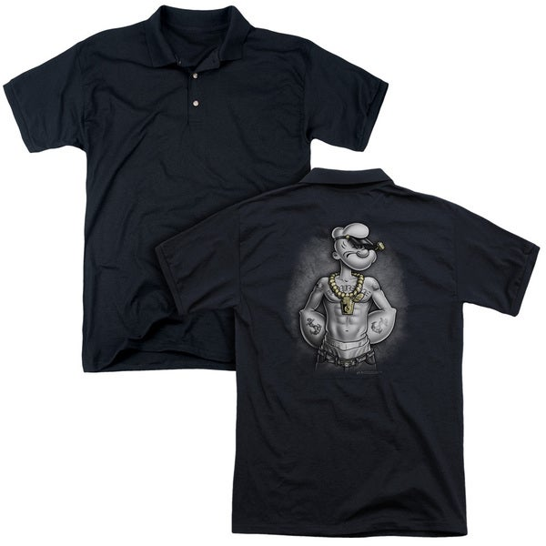 Popeye/HarDCOre (Back Print) Mens Regular Fit Polo in Black
