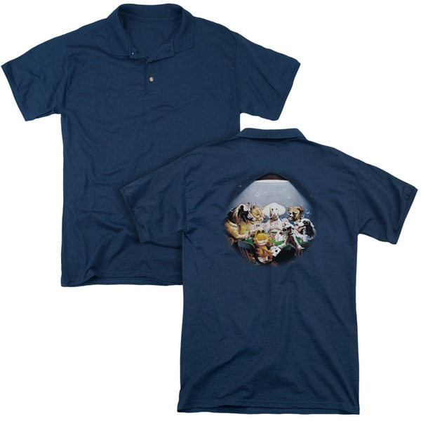 Garfield/Playing With The Big Dogs (Back Print) Mens Regular Fit Polo in Navy