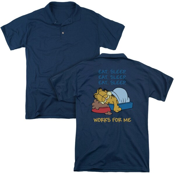 Garfield/Works For Me (Back Print) Mens Regular Fit Polo in Navy