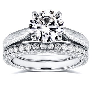 Annello 14k White Gold 1 1/2ct Round Moissanite and 1/3ct TDW Diamond Antique Cathedral Bridal Set (G-H, I1-I2)