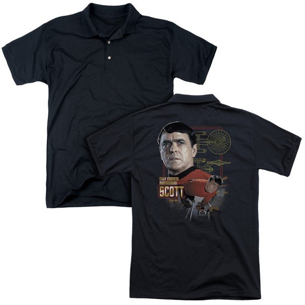 Star Trek/Chief Engineer Scott (Back Print) Mens Regular Fit Polo in Black