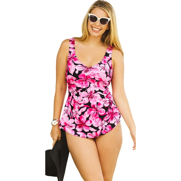 Beach Belle Honolulu Pink Sarong Front Swimsuit
