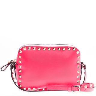 Valentino Rockstud Smooth Leather Camera Pink Crossbody Bag