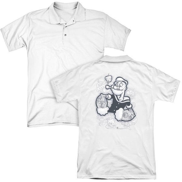 Popeye/Tattooed (Back Print) Mens Regular Fit Polo in White