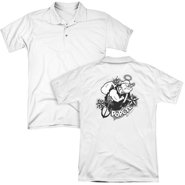 Popeye/Stars and Anchor (Back Print) Mens Regular Fit Polo in White