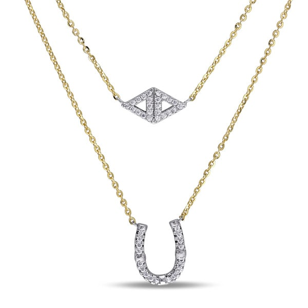Miadora Yellow Plated Silver Cubic Zirconia Good Luck Horseshoe Necklace