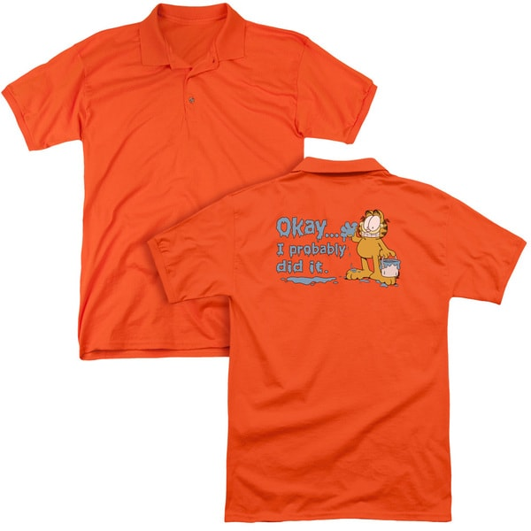 Garfield/I Probably Did It (Back Print) Mens Regular Fit Polo in Orange