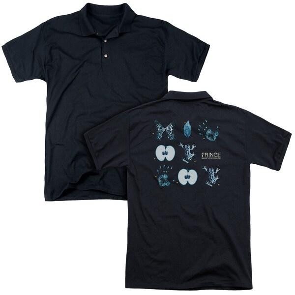 Fringe/Symbols (Back Print) Mens Regular Fit Polo in Black