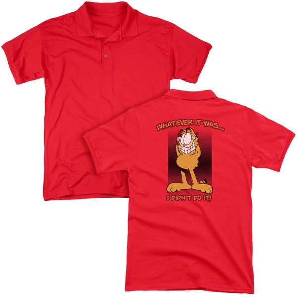Garfield/I Didn't Do It (Back Print) Mens Regular Fit Polo in Red