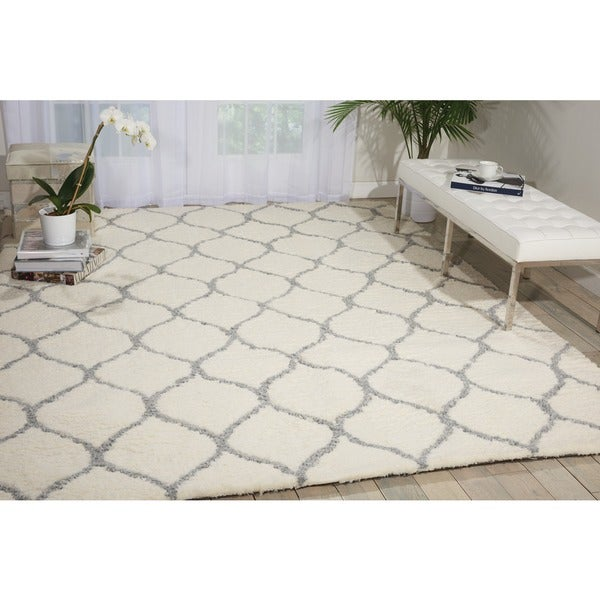 Nourison Galway Ivory/Ash Shag Area Rug (7'6 x 9'6)