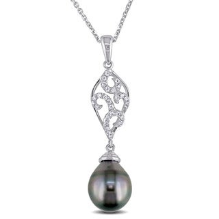 Miadora 18k White Gold Tahitian Pearl and 1/5ct TDW Diamond Necklace (G-H, SI1-SI2)