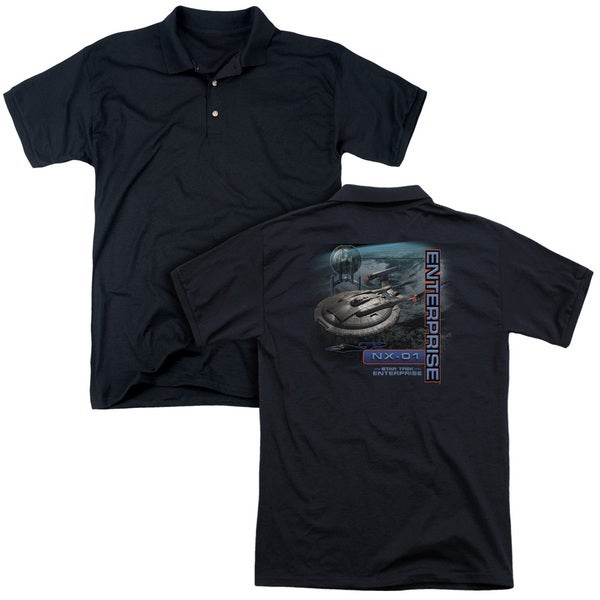 Star Trek/Enterprise Nx 01 (Back Print) Mens Regular Fit Polo in Black