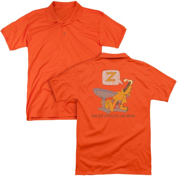 Garfield/Attention Span (Back Print) Mens Regular Fit Polo in Orange