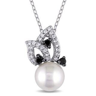 Miadora 10k White Gold Freshwater White Pearl and 1/4ct TDW Black and White Diamond Flower Necklace (H-I, I2-I3)