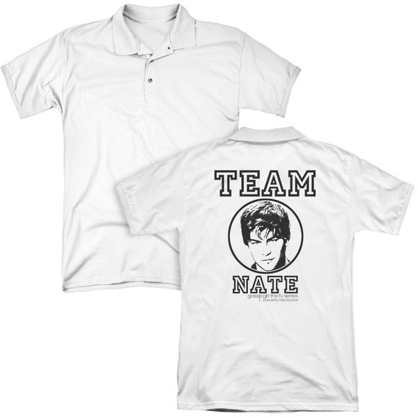 Gossip Girl/Team Nate (Back Print) Mens Regular Fit Polo in White