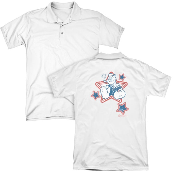Popeye/Stars (Back Print) Mens Regular Fit Polo in White
