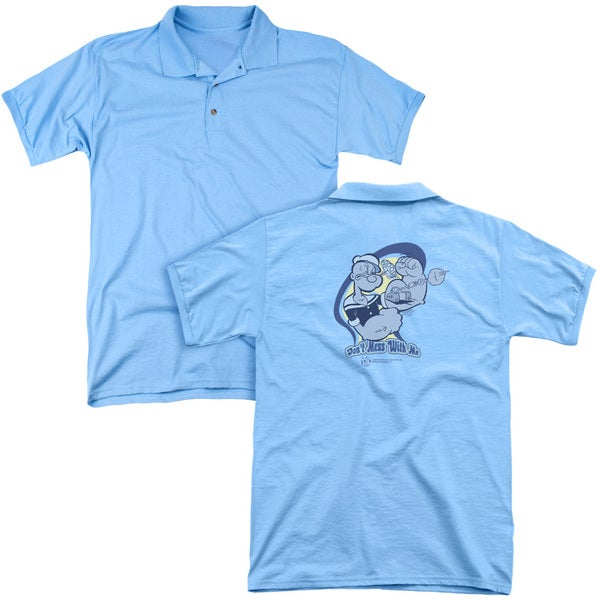 Popeye/Don't Mess With Me (Back Print) Mens Regular Fit Polo in Carolina Blue