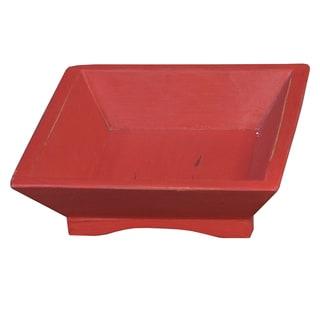 Bramble Co. Square Red Heavy Distressed Mahogany Fruit Tray