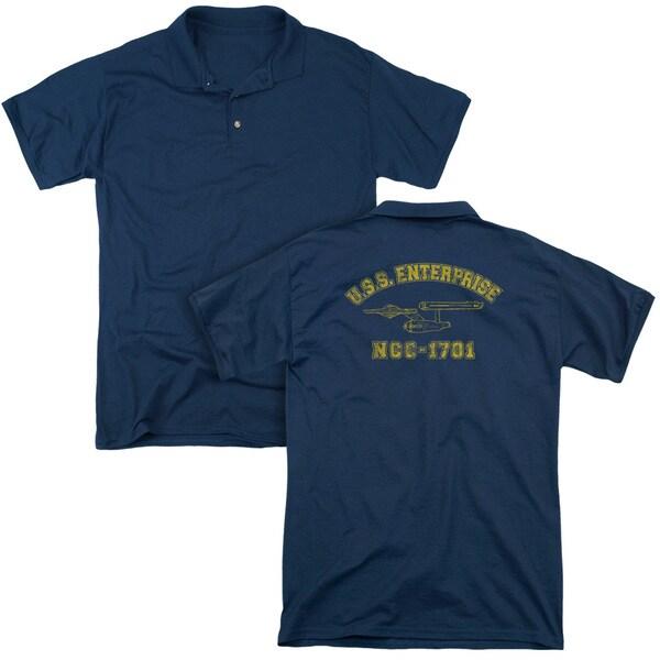Star Trek/Enterprise Athletic (Back Print) Mens Regular Fit Polo in Navy