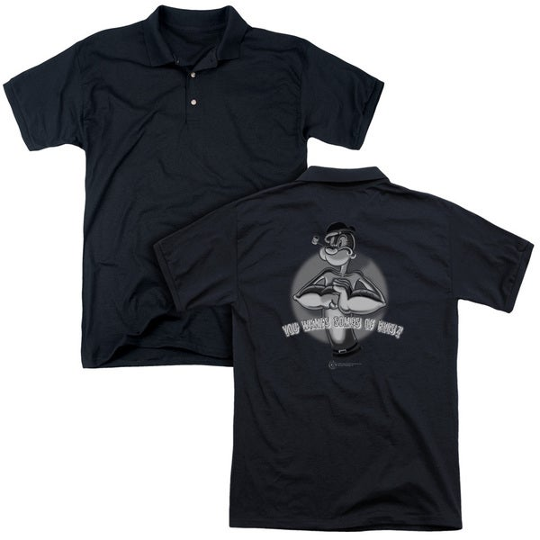 Popeye/Somes Of This (Back Print) Mens Regular Fit Polo in Black