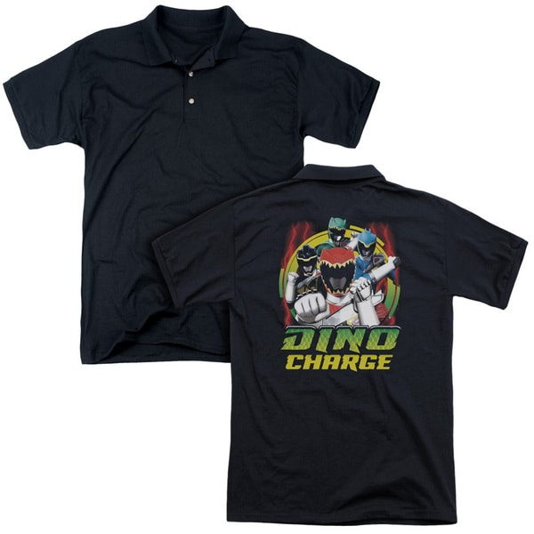 Power Rangers/Dino Lightning (Back Print) Mens Regular Fit Polo in Black
