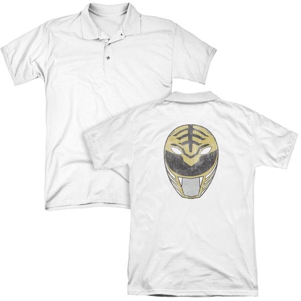 Power Rangers/White Ranger Mask (Back Print) Mens Regular Fit Polo in White
