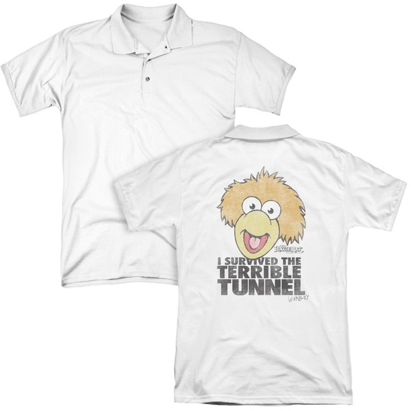 Fraggle Rock/Terrible Tunnel (Back Print) Mens Regular Fit Polo in White