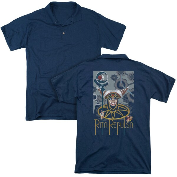 Power Rangers/Rita Deco (Back Print) Mens Regular Fit Polo in Navy