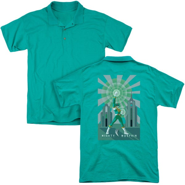 Power Rangers/Green Ranger Deco (Back Print) Mens Regular Fit Polo in Kelly Green
