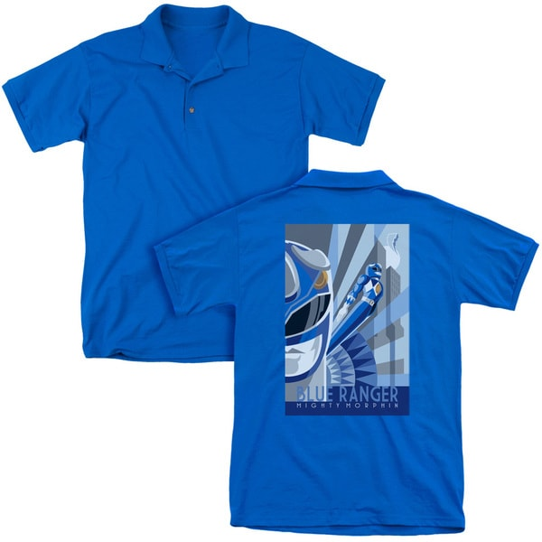 Power Rangers/Blue Ranger Deco (Back Print) Mens Regular Fit Polo in Royal