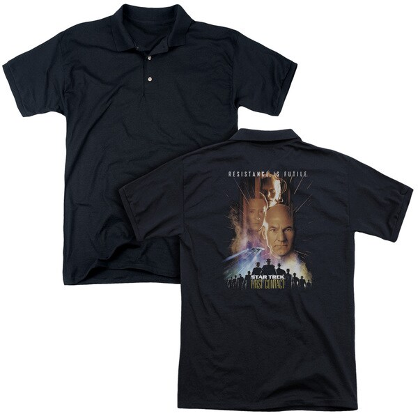 Star Trek/First Contact(Movie) (Back Print) Mens Regular Fit Polo in Black