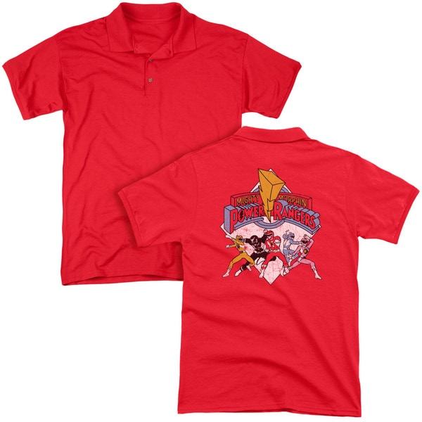 Power Rangers/Retro Rangers (Back Print) Mens Regular Fit Polo in Red