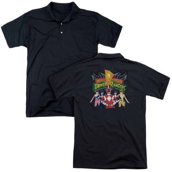 Power Rangers/Rangers Unite (Back Print) Mens Regular Fit Polo in Black