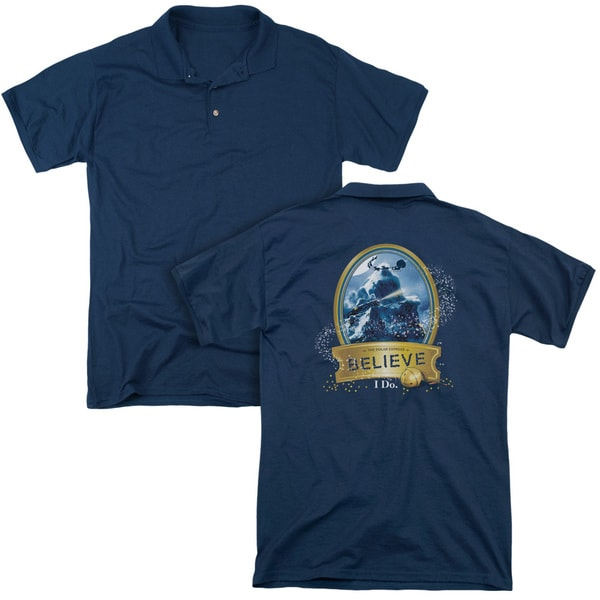 Polar Express/True Believer (Back Print) Mens Regular Fit Polo in Navy