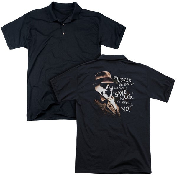 Watchmen/Whisper (Back Print) Mens Regular Fit Polo in Black