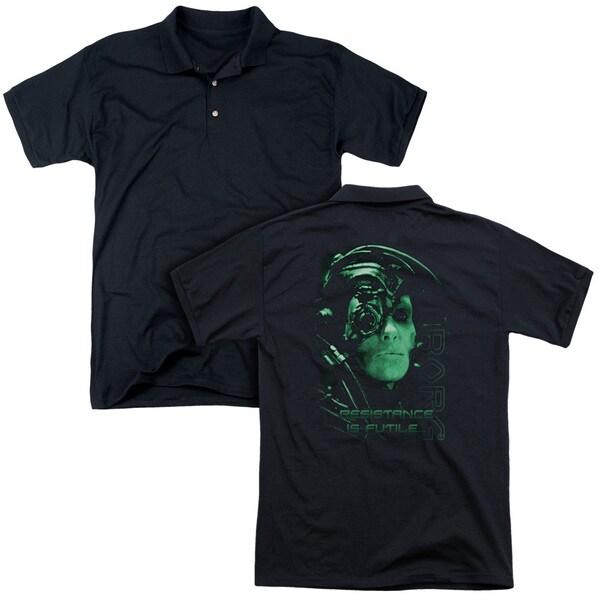 Star Trek/Resistance Is Futile (Back Print) Mens Regular Fit Polo in Black