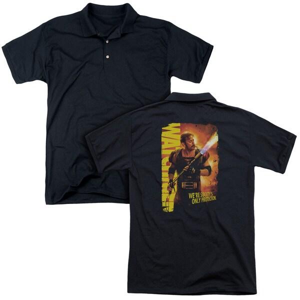 Watchmen/Smoke Em (Back Print) Mens Regular Fit Polo in Black