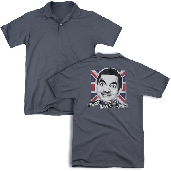 Mr Bean/Long Live (Back Print) Mens Regular Fit Polo in Charcoal