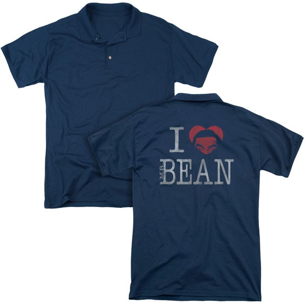 Mr Bean/I Heart Mr Bean (Back Print) Mens Regular Fit Polo in Navy