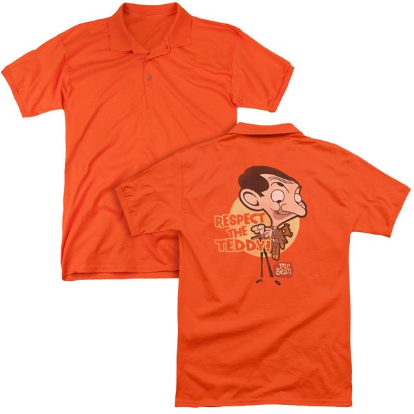 Mr Bean/Respect The Teddy (Back Print) Mens Regular Fit Polo in Orange