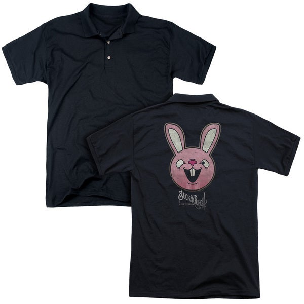 Sucker Punch/Pink Bunny (Back Print) Mens Regular Fit Polo in Black