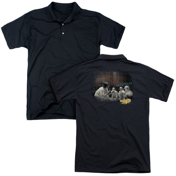 Mirrormask/Bob Malcolm (Back Print) Mens Regular Fit Polo in Black