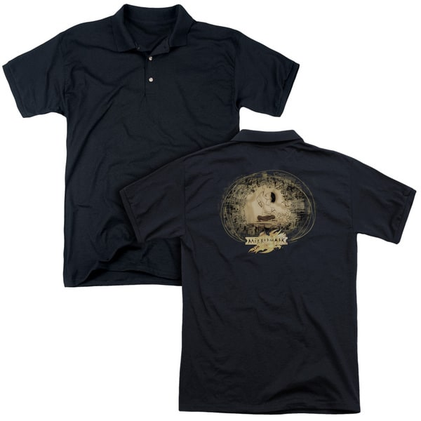 Mirrormask/Sketch (Back Print) Mens Regular Fit Polo in Black